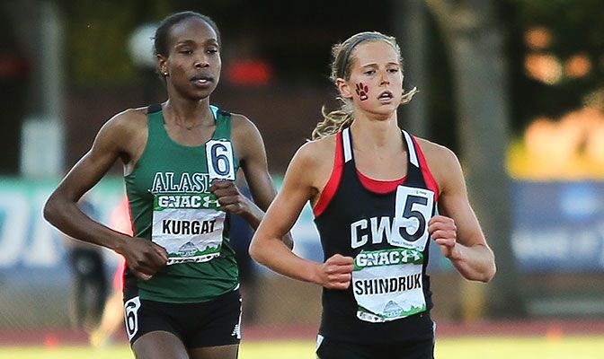 Caroline Kurgat (left) earned her second outdoor 10,000-meter title while Alexa Shindruk (right) earned All-America honors with a seventh-place finish.Photo by Gary Breedlove.