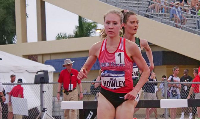 The GNAC record-holder in the women's steeplechase, Julia Howley finished third with a time of 10:27.05. Photo courtesy of Simon Fraser athletics.