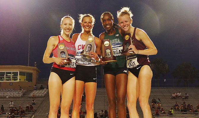 The GNAC's four women's 5,000-meter All-Americans. From left, Julia Howley, Alexa Shindruk, Caroline Kurgat and Kate Lilly. Photo by Gabe Lynn.