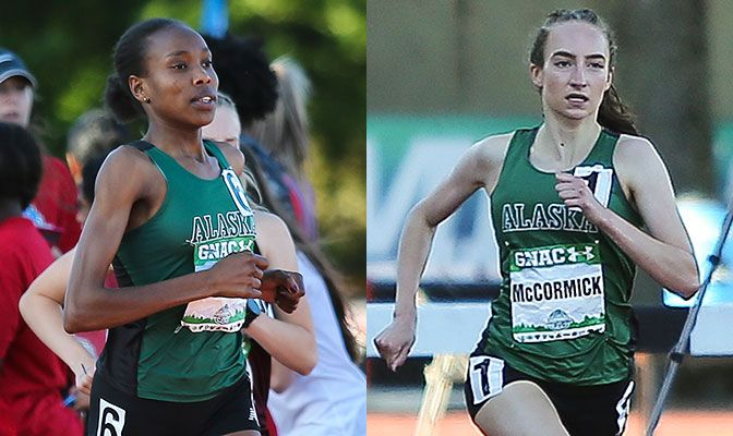 Caroline Kurgat (left) is a four-time national champion this season while Danielle McCormick earned All-American honors both indoors and outdoors in the 800 meters. Photos by Gary Breedlove.