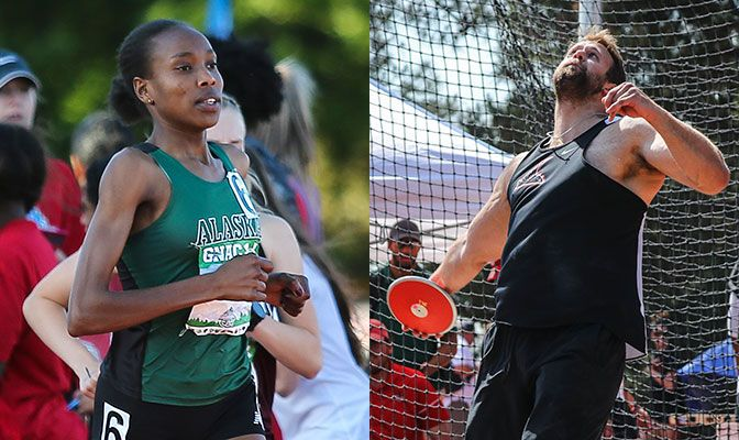 Caroline Kurgat (left) set the Division II all-time record in the 10,000 meters. Jake Knight set the GNAC record in the discus.