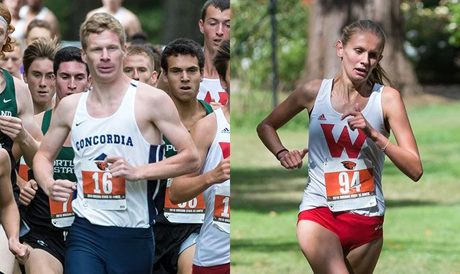 Concordia's Judd Lewis (left) and Western Oregon's Kennedy Rufener made it a GNAC sweep of the individual first place ribbons at the Linfield Harrier Classic.