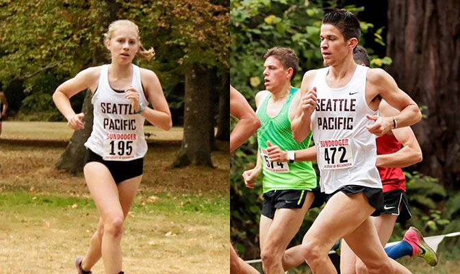 Dania Holmberg (left) led the Seattle Pacific women to a second place team finish at the Willamette Charles Bowles Invitational. Ben Halladay was the top Division II runner in the men's race.