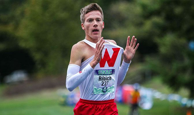 Western Oregon's David Ribich won his first GNAC cross country title with a time of 24:54.82. Photo by Nick Danielson.