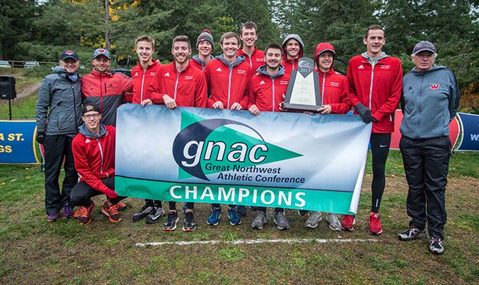 This is Western Oregon's first GNAC championship in cross country and ended Alaska Anchorage's string of seven straight titles. Photo by Nick Danielson.
