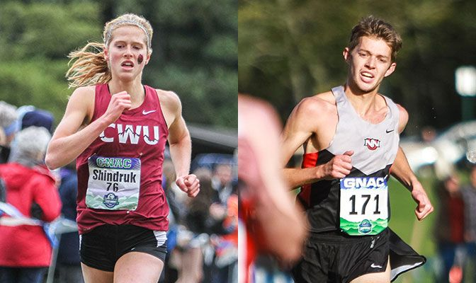 Central Washington's Alexa Shindruk (left) and Northwest Nazarene's Isaac Mitchell are among nine runners with 4.0 GPAs. Photos by Nick Danielson.