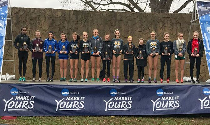 Alaska Anchorage's Caroline Kurgat (far left) and Simon Fraser's Julia Howley (far right) both had top-15 finishes. Photo courtesy of the RMAC.