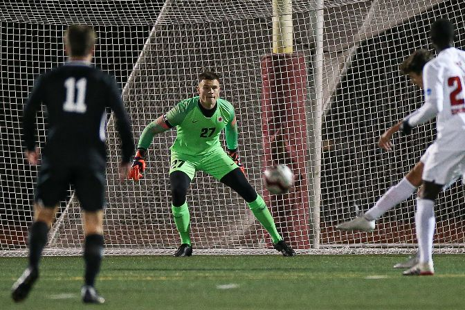 Simon Fraser goalkeeper Aidan Bain has 24 total saves, most in the GNAC and third-most in Division II.
