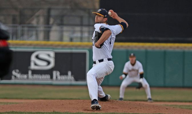 Montana State Billings senior Blake Tritch earned GNAC Pitcher of the Week honors after throwing an eight-inning complete-game in a 4-1 victory on Friday.