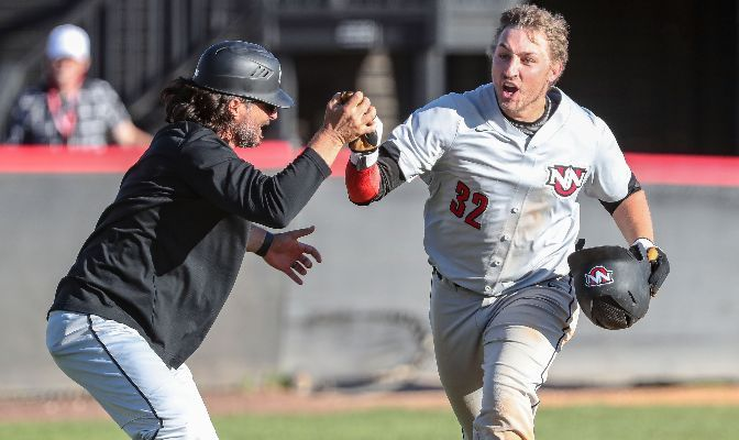 Junior designated hitter Alex Salsman hit the game-winning two-run home run in the ninth inning to give Northwest Nazarene the 7-5 win. Photo by Loren Orr.