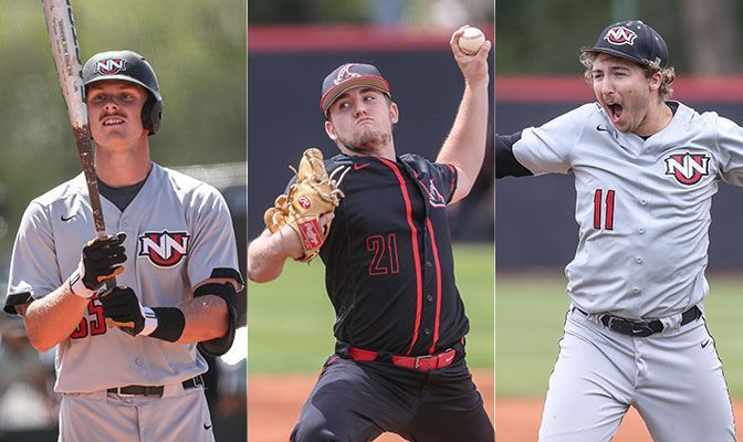 Freshmen Grant Kerry (left) and Kyle Ethridge (center) and junior Max Holtzclaw lead Northwest Nazarene as first-team selections on the ABCA/Rawlings All-West Region Team.