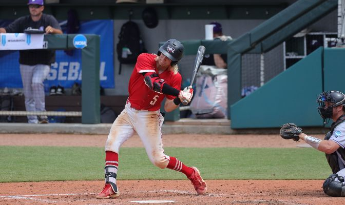 Junior second baseman Colton Moore helped to lead Northwest Nazarene at the plate, going 2 for 4 with two runs scored and two RBI. Photo by James Benson.