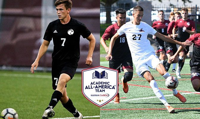 Travis Swallow (left) scored two goals for SPU in 2021 whille Lorenzo Valentini scored three goals for NNU.