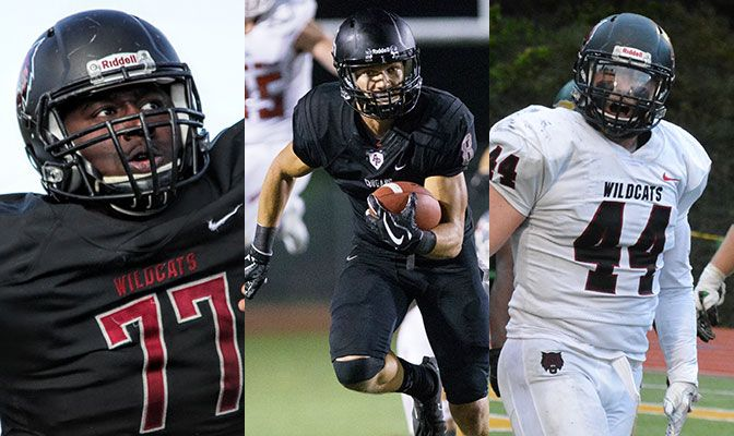 Central Washington's James Moore (left) and Azusa Pacific's Weston Carr (center) made the D2Football.com Preseason All-America First Team. The Wildcats' James Moore was a second-team selection.