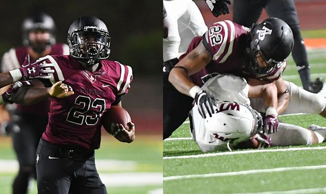 In his first start, Zikel Reddick (left) rushed for 201 yards on 27 carries. Aaron Berry paced the APU defense with 14 tackles, 5.5 tackles for loss and a pair of sacks.