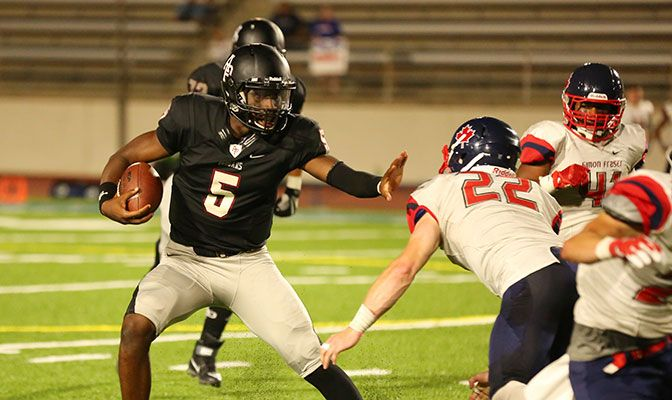 Azusa Pacific's Tyrone Williams, Jr., was named the GNAC Offensive Player of the Week after he passed for three touchdowns and rushed for two more in the 58-14 win over Simon Fraser.