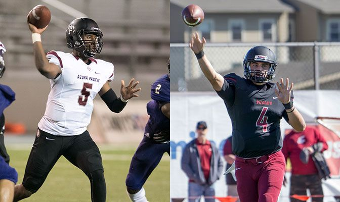 The contests will feature two of the conference's top quarterbacks in Azusa Pacific's Tyrone Williams, Jr. (left) and Central Washington's Reilly Hennessey.