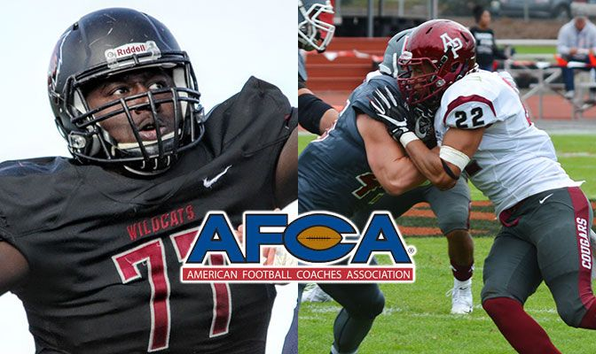 James Moore (left) was the GNAC Offensive Lineman of the Year and Aaron Berry was the GNAC Defensive Player of the Year.