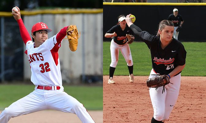 Tanner Inouye (left) earned a complete-game win for Saint Martin's on Friday while Jordan Adams won three games for Northwest Nazarene over Western Oregon.