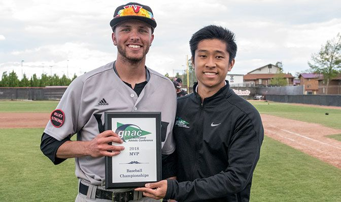 Rhys Lendio, shown at the 2018 GNAC Baseball Championships, came to the GNAC after graduating from Linfield College. Photo by Bryan Clark.