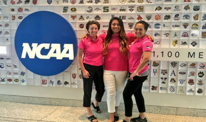 Ku'ulei Siolo (with Western Oregon's Randi Lydum, left, and GNAC associate commissioner Bridget Tetteh), at the NCAA national offices in Indianapolis.