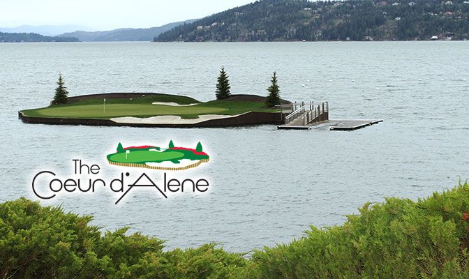 Opened in 1991, the Coeur d'Alene Resort Golf Course and its floating green have hosted the GNAC Golf Championships since 2009. Photo by Shawn Toner.