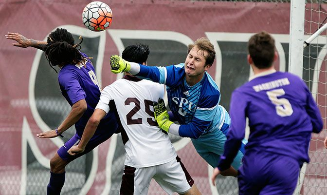 Kary Whitney, shown here in a spring match against Washington, looks to contribute more to the SPU defense after playing two matches in goal in 2016.