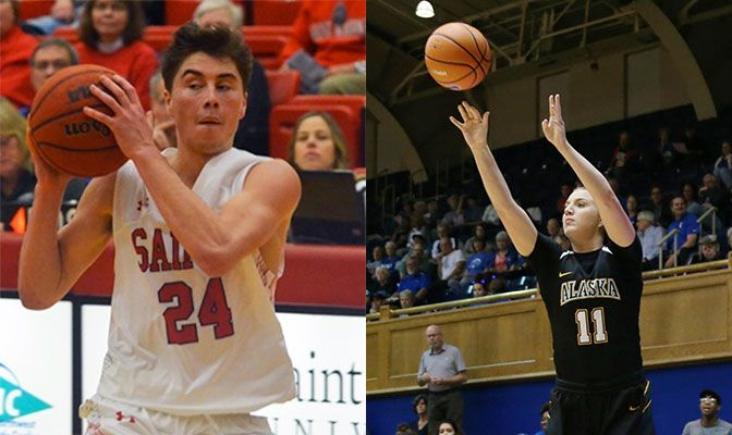 Luke Chavez (left) led Saint Martin's to a 3-0 week as he averaged 19 points per game. Shelby Cloninger averaged 16 points and seven rebounds per game in two wins over Division I foes.