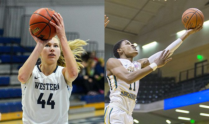 Schwecke (left) averaged 14 points and 10 rebounds per game in two games for WWU last week. DJ Ursery had a double-double of 22 points and 12 rebounds in the Dec. 19 UAA win over Concordia.