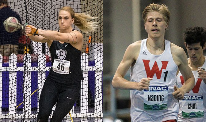 MacDonald (left) tied the GNAC record in the women's weight throw while Nading surpassed the Western Oregon school record in the 3,000 meters. Photo Credits: Left - Chris Oertell, Right - Loren Orr.