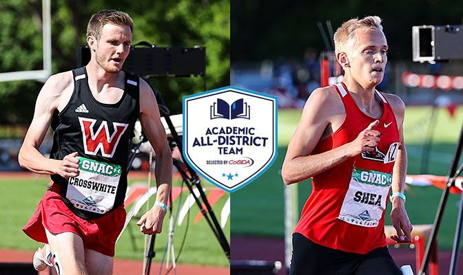 Crosswhite (left) placed second at May's GNAC Outdoor Championships in the 1,500. Shea was second in the 10,000 meters and third in the 5,000 meters. Photos by Gary Breedlove.