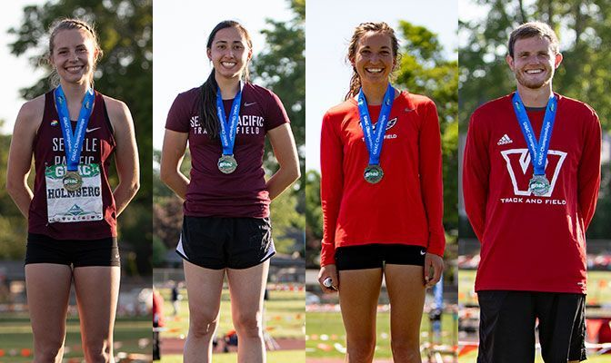 From Left: Dania Holmberg (SPU), Scout Cai (SPU), Bethany Danner (NNU) and Justin Crosswhite (WOU). Both Holmberg and Danner were named Academic All-Americans for the second consecutive year.