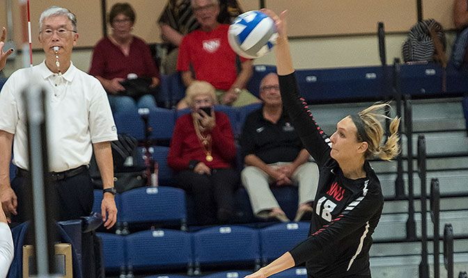 Northwest Nazarene's Madi Farrell earned her second straight Volleyball Offensive Player of the Week award after finishing with a .495 hitting percentage in four matches.
