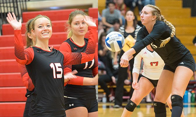 Saint Martin's Jennifer Codd (left) and Western Oregon's Alisha Bettinson are two of 10 three-time selections to the Volleyball All-Academic Team.
