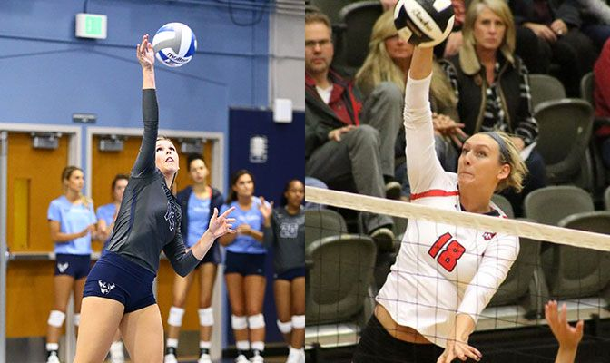 Western Washington's Joellee Buckner (left) and Northwest Nazarene's Madi Farrell shared GNAC Offensive Player of the Week honors this week.