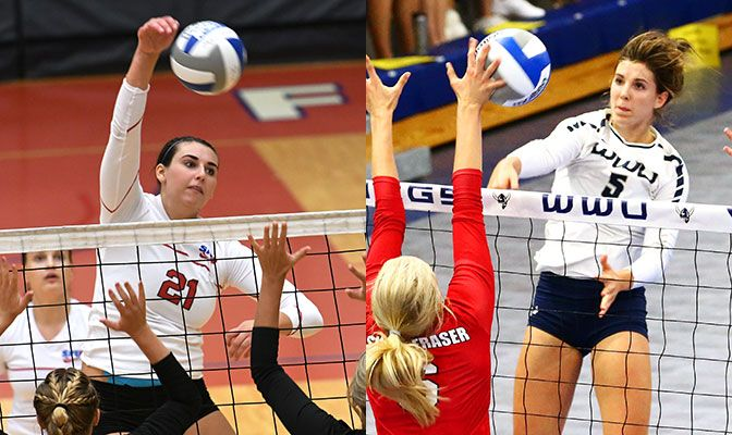 Simon Fraser's Tessa May (left) and Western Washington's Abby Phelps led their respective teams to wins over both Northwest Nazarene and Central Washington.