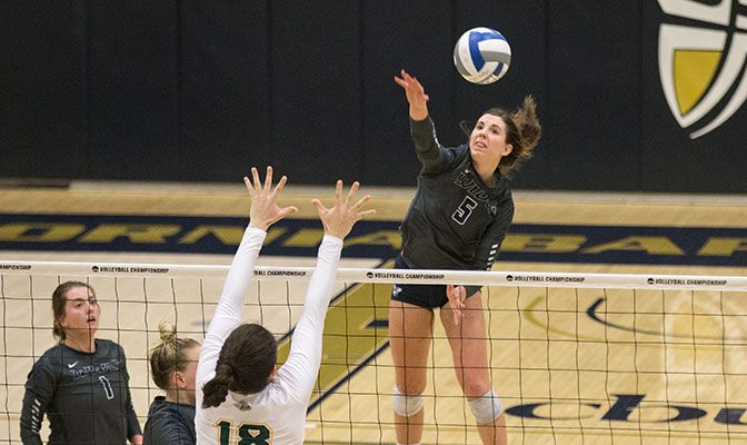 The 28 kills was a season high for Phelps. The Vikings will face GNAC rival Northwest Nazarene in the semifinals. Photo by Connor Schuh.