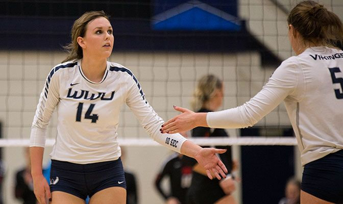 Joellee Buckner was one of four WWU players to have a double-double in the match, finishing with 11 kills and 19 digs. Photo by Conner Schuh.