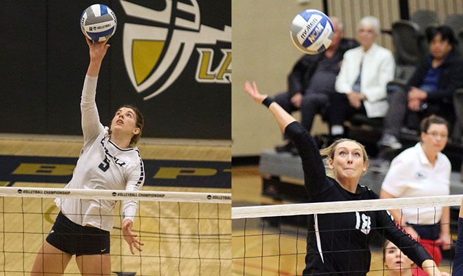 Phelps (left) was also named the GNAC Player of the Year. Farrell was an AVCA Third Team All-American selection in 2016.