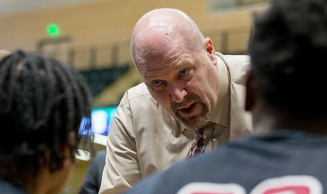 Sparling, shown at the 2018 GNAC Basketball Championships, spent the last 24 seasons as head coach at Central Washington. He succeeds Mick Durham, who left to become head coach at MSUB.