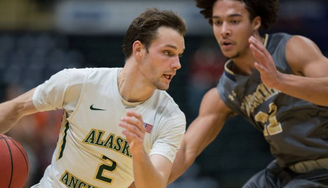 Guard/Forward Tyler Brimhall dropped 15 points in last week's big victory over Western Oregon. The junior leads Alaska Anchorage in scoring at 17.1 points per game.