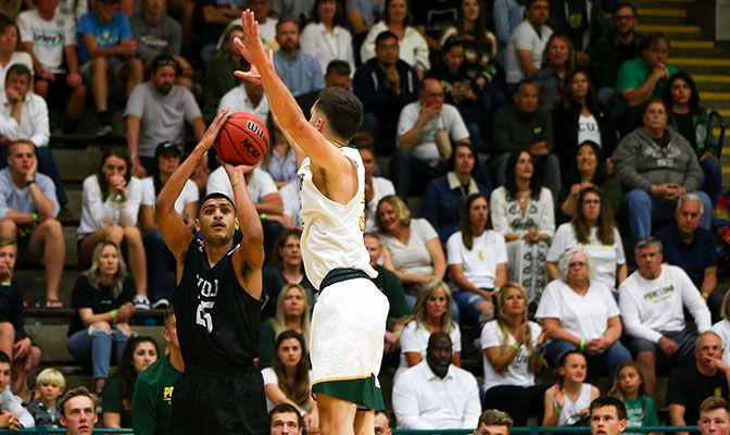 Western Oregon's Kaleb Warner finished with 15 points and five rebounds in his final game. Photo courtesy Point Loma.