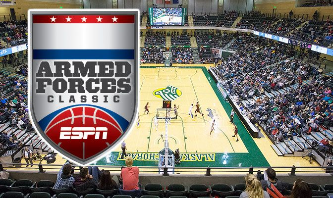 The ESPN Armed Forces Classic will be hsoted by Alaska Anchorage in conjunction with Joint Base Elemdorf-Richardson.