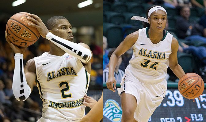 Suki Wiggs (left) scored 30 or more points for the third and fourth games in a row while Autummn Williams  scored 55 points in two games to extend the Seawolves' women's win streak to 17 games.