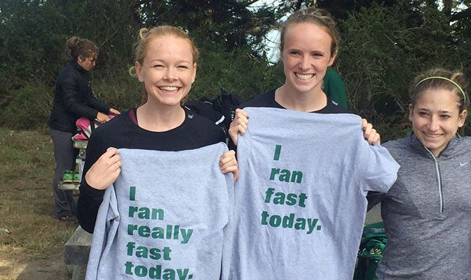 Seattle Pacific's Mary Charleson (left) and Sarah Macdonald finished first and third at the Humboldt Invitational and received some the best top finishers' shirts in the world.