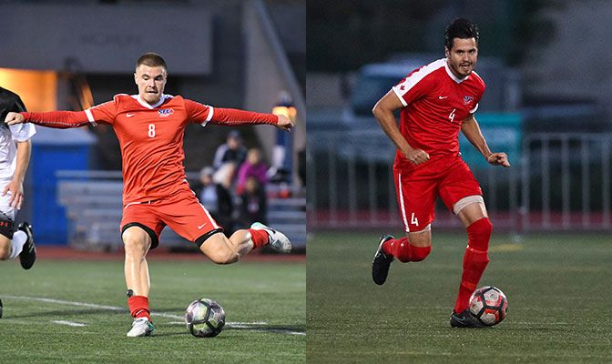 Simon Fraser's Matteo Polisi (left) and Magnus Kristensen (right) swept the Men's Soccer Player of the Week awards as the Clan collected three total awards for the week.