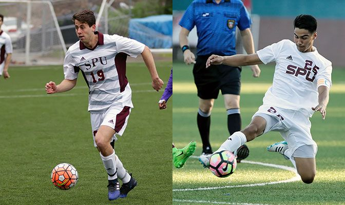 Seattle Pacific's Daniel Ivaldi (left) and Jess Cayetano lead the GNAC Men's Soccer All-Academic Team with 3.97 GPAs.