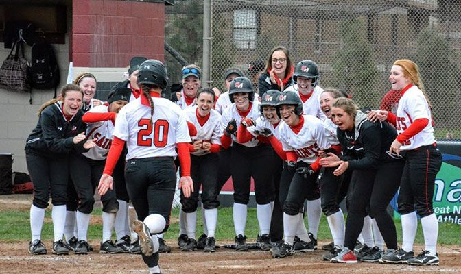 Saint Martin's stunned Central Washington by taking thre eof four games from the Wildcats, including one win on a walk-off 10th inning grand slam by Alyssa French. Photo by Sammy Henderson.