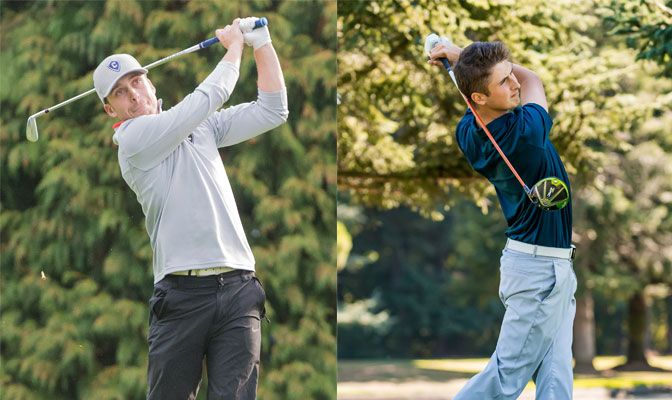 Nick Huff (left) led Concordia to fifth place after ending the Hanny Stanislaus Invitational at even-par while Cody Roth guided WWU to a tie for third at the Mustang Intercollegiate.
