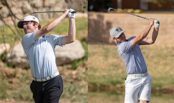 After finishing five strokes over par in round one, Bonfilio (left) moved into a six-way tie for 34th place (5-over par 147) while Huff improved to a tie for 76th at 10-over par 152.